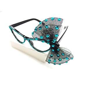 Bipy occhio di gatto stile da festa da donna moda strass banchetto classica occhiali da vista W/garza fiocchi, confezione da 1 Red