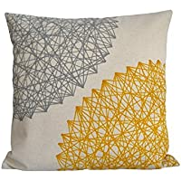 Cojín geométrico amarillo y gris de lino algodón, 40, 45, 50, 60 cm, diseño exclusivo de BeccaTextile.