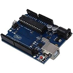 Desarrollo Junta - SODIAL(R)UNO R3 Desarrollo Junta microcontrolador MEGA328P ATMEGA16U2 Compat para Arduino azul