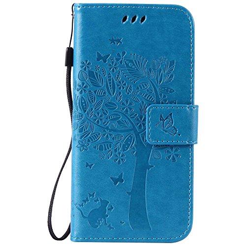 DENDICO Galaxy S6 Hülle, Leder Handyhülle mit Standfunktion und Kartenfach, Magnetverschluss Flip Brieftasche Etui Schutzhülle für Samsung Galaxy S6 - Blau