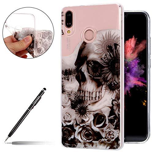 Uposao Kompatibel mit Huawei P20 Lite Handyhülle Crystal Case Kirstall Transparent Silikon Hülle Schutzhülle Ultra Dünne TPU Case Durchsichtig Handytasche,Schwarz Blumen Schädel Totenkopf