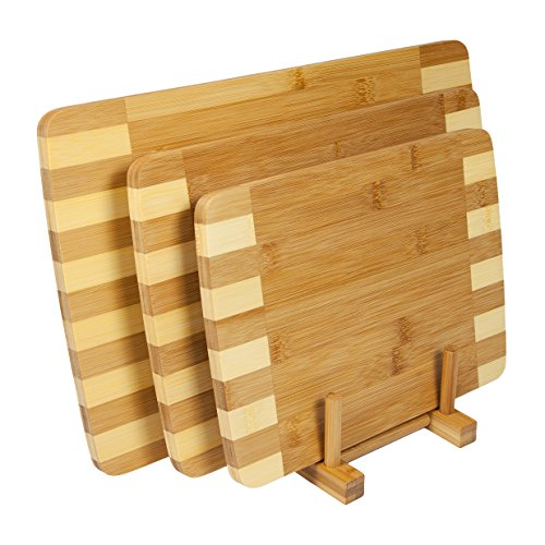 woodluv Set of 3 Inlaid 100% Bamboo Decorative Wooden Chopping Boards (Comes with its own Storage Rack), Natural