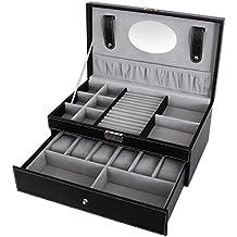 Songmics Portagioie Scatole per gioielli Scatola Porta Orologi per 6 Orologi JWB11B