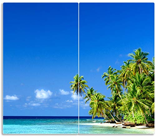 Wallario Herdabdeckplatte/Spritzschutz aus Glas, 2-teilig, 60x52cm, für Ceran- und Induktionsherde, Blauer Himmel, weißer Strand, Palmen und Das tiefblaue Meer