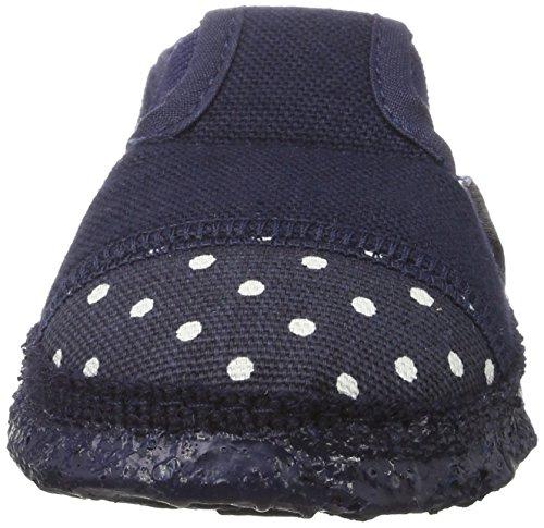 Nanga Mädchen Punkt Flache Hausschuhe Blau (Dunkelblau)