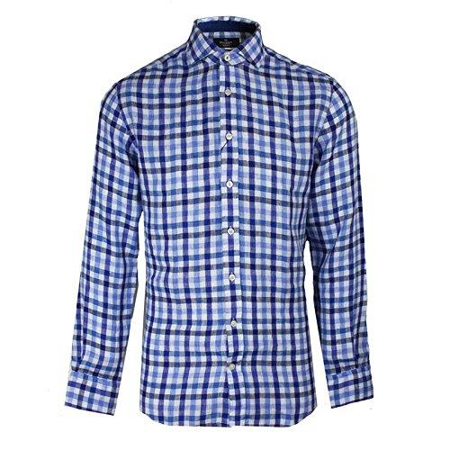 hackett-london-camicia-casual-a-quadri-uomo-blu-blu-xxl