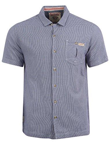 Tokyo Laundry Herren Crusoe Kariert Shirt Gemusterte Baumwolle Größe S- XL Mitternacht Blau