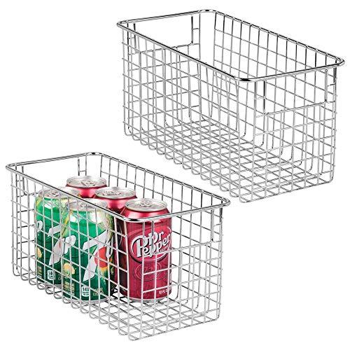 mDesign 2er-Set Allzweckkorb aus Metalldraht - Flexibler Aufbewahrungskorb für die Küche, Vorratskammer etc. - großer und universeller Drahtkorb mit Griffen - silberfarben