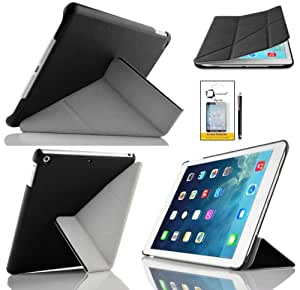 New Apple iPad Air 2013 (iPad 5th Generation) With Retina Display (ALL Model Versions) BLACK ORIGAMI Multi-Function SMART FOLIO Front & Back Case / Smart Cover / Typing & Viewing Stand / Premium SLIM Flip Case With Magnetic Sleep Sensor & Screen Protector Shield Guard & iPad Air Black Stylus Pen Accessory Accessories Pack by InventCase®
