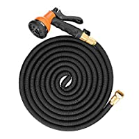 50 Ft Expandable Garden Hose, Cozzine Watering Pipe with 8 Functional Spray Nozzle, 100% TPE Core Solid Brass Connector Extra Flexible