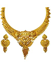 Mansiyaorange Party Wedding Wear One Gram Gold Original Wax Forming Work Premium Golden Necklace Set For Women