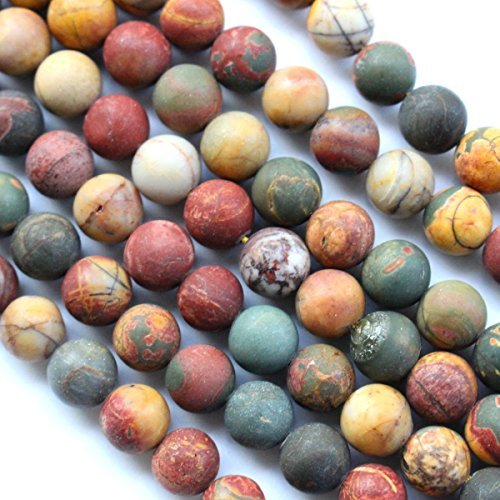 Natural Frosted Unpolished Genuine Black Picasso Jasper Round Gemstone Jewelry Making Loose Beads (colorful 12mm) by