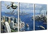 Anno 2070 3-teilig auf Leinwand- Gesamtformat: 120x80 cm fertig gerahmte Kunstdruckbilder als Wandbild - Billiger als Ölbild oder Gemälde - KEIN Poster oder Plakat