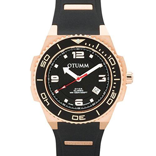 Otumm Diver Rose Gold 45mm Farbe 02 Schwarz DIRG45-002 Unisex Diver Uhr