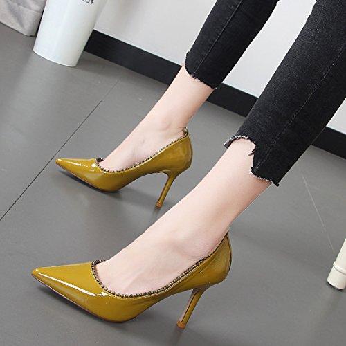 Xue Qiqi Feine mit einfachen Schuhe mit hohen Absätzen im Licht der Schuhe Spitze Wulst einzelne Damenschuhe weiblich, 39, Frucht grün (Die Sauberen Früchte)