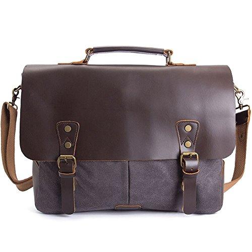 Herren Messenger Bag, WalkingToSky Umhängetasche Leder Canvas Tasche Männer Arbeitstaschen Aktentasche Laptoptasche Schultertasche für 15,6 Zoll Laptop (Kaffee -1) -