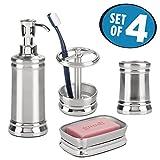 mDesign Juego de 4 accesorios para el baño – Porta cepillos de dientes, dosificador de jabón, jabonera de baño y vaso – Fabricados en acero inoxidable – plateado