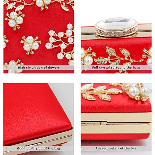 374ba85a3d922 ... Milisente Frauen Perle Wulst Blumen Clutch Tasche Damen Abendtaschen  Hochzeit Handtasche (Rosa) Rot ...