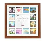 Inov8 16 x 40,64 cm Insta-Frame Marco para Instagram 13/Cuadrado Fotos con paspartú Blanco y Negro con Borde, Madera de Roble