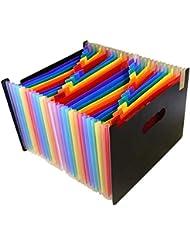 P Prettyia Cartella File Espandibile Rainbow Color Fisarmonica per Archiviazione Quotidiana Documenti, 48 Tasche