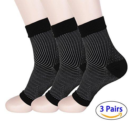 hmilydyk 3Paar Socken Plantarfasziitis Foot Care Compression Sleeve mit Arch Support, besser als Night Splint, lindert Schwellungen & Fersensporn, Fußgelenkstütze, Steigert die Durchblutung, lindert Schmerzen Schnell (Erholsamen Bein-unterstützung)