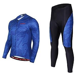 Asvert Malliot de Ciclismo Hombre 3D Cojín Conjunto Bicicleta de Montaña Ropa+Pantalones Culote de Ciclista Largo Transpirable y Elástico para Primavera y Verano (M, Ocean)