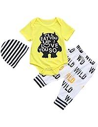 78f4d5fc94ce2e LMMVP Bébé Garçon Fille sans Manches Lettre de Dessin Animé T-Shirt Gilet  Ensembles de Vêtements ...