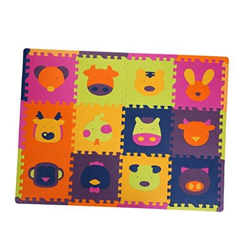 Sharplace Puzzle Mat Enfant Puzzle Jeu Mat Coloré Carrelage Jouets 12pcs - Sheng-Xiao Rouge