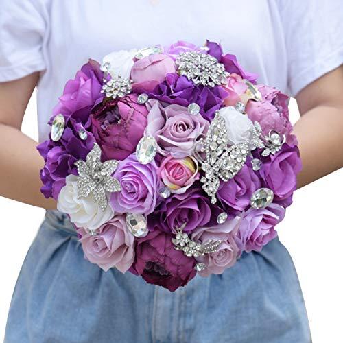 WSJS Hochzeits-Bouquple Püree künstliche Fake Rose Blume Braut-Blid-Buket-Bruket-Brudepüre Pure Manual Bridesmaid Hochzeitsdekoration Bouquets Für (Fake 6 Pack Kostüm)