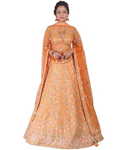 Indian Ethnicwear Bollywood Pakistani Wedding Orange A-Line Lehenga Semi-stitched-DIVISL007