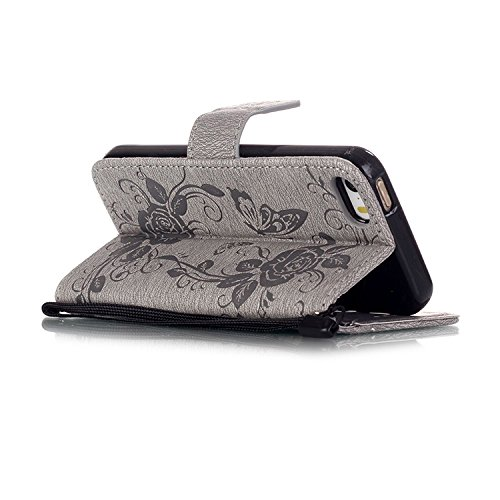 iPhone Case Cover IPhone 5 5S SE 6 6S Plus Fall, Prägung Schmetterling PU Leder Schutzhülle Schmetterling Blume Flip Stand Brieftasche Fall Deckung für IPhone 5 5S SE 6 6S Plus ( Color : Gray , Size : Gray