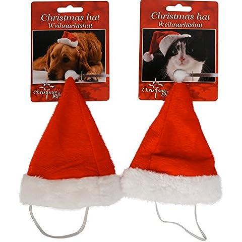 Bakaji Cappellino Cappello di Natale Per Cani e Gatti 22 x 15 cm Lavabile con cordoncino Elastico Poliestere Animali Natale