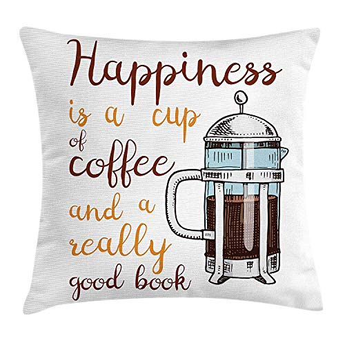 ZTLKFL Coffee Throw Pillow Cushion Cover, French Press with Hot Aromatic Beverage and Hand Written Style Inspirational Quote, Decorative Square Accent Pillow Case, 18 X 18 inches, Multicolor (Press In Usa Made French)