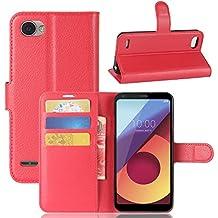 Portafoglio Custodia per LG Q6 / LG Q6 Plus, Scheam 2 in 1 Flip Magnetica Custodia in Pelle Shockproof Anti-Graffi Ultra Morbido Sottile con Supporto LG Q6 / LG Q6 Plus Cover(Rosso)