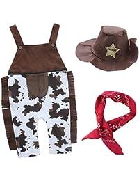 iEFiEL Pantalones de Peto Disfraces de Vaquero Conjuntos Algodón para Bebé Niño con Sombrero Pañuelo