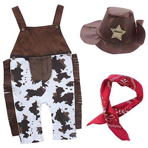 dPois Baby Jungen 3Pcs Cowboy Outfit Tracht Festlich Bekleidungsset Träger Body Overall + Hut + Schal Kleinkind Kostüm Party Halloween Weihnachten Outfit Braun 86-92/18-24 - Baby Boy Cowboy Kostüm