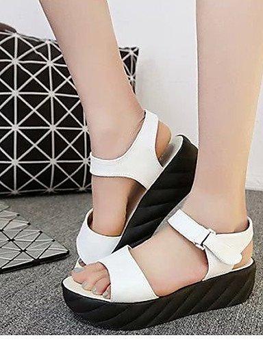 UWSZZ Die Sandalen elegante Comfort Schuhe Frau - Sandalen - formale - praktisch - Kunstleder - schwarz/weiß/orange, orange -6.5-7 US/EU 37/ UK 4,5-5/CN 37, Orange -6.5-7 US/EU 37/ UK 4,5-5/CN 37 White