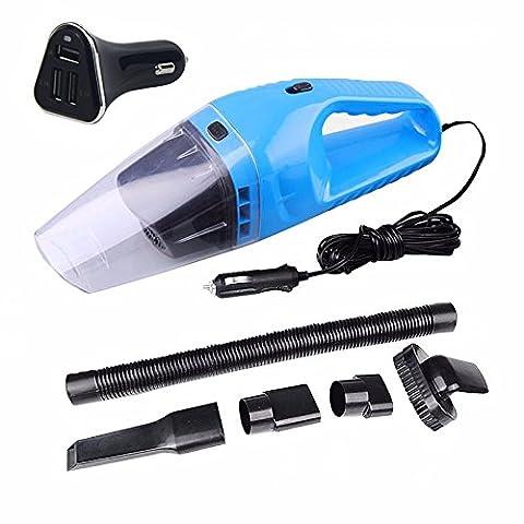 Bearbay Aspirateur de voiture 120 w sec humide double utilisation avec un chargeur de voiture Super succion voiture utilisation aspirateur portatif à poussières 12V (bleu)