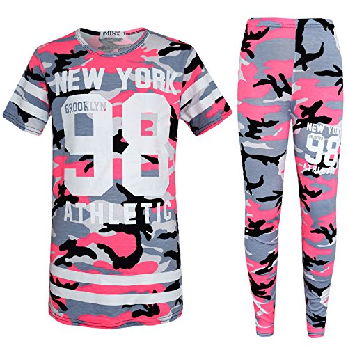 Kids Camouflage Tracksuit Girls Lounge Wear Newyork 98 Jogger SportsWear 7-13Yr (11-12 Years, Pink Camo 98)