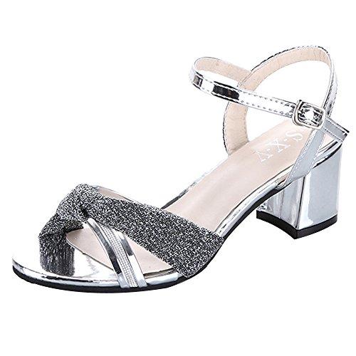 Hunpta Frauen Mode Sommer Mid Heel Flip Flop Sandalen Slipper Böhmen Schuhe Silber