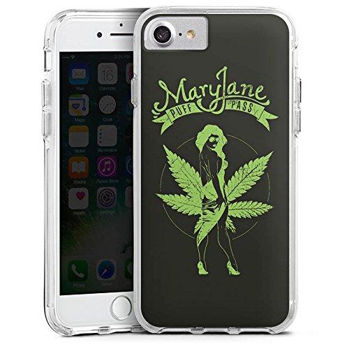 Apple iPhone 6s Plus Bumper Hülle Bumper Case Glitzer Hülle Maryjane Marihuana Hanf Bumper Case transparent