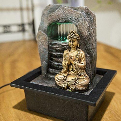 Zen'Light Bouddha Zen Dao Fontaine, Résine, Bronze, 21 x 17 x 25 cm