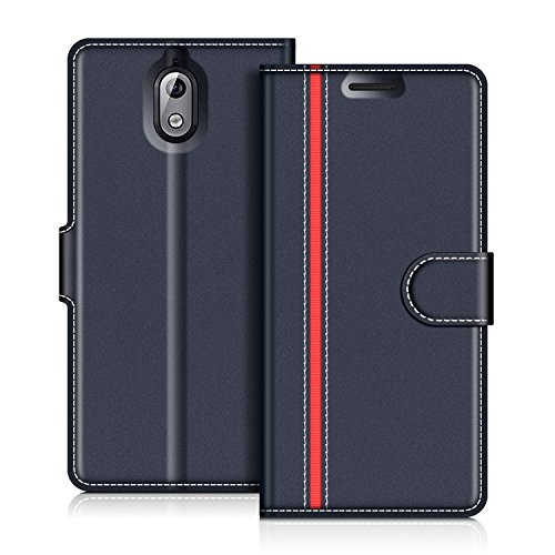 COODIO Nokia 3.1 2018 Hülle Leder, Nokia 3.1 Lederhülle Ledertasche Wallet Handyhülle Tasche Schutzhülle Magnetverschluss für Nokia 3.1 - Version 2018, Dunkel Blau/Rot