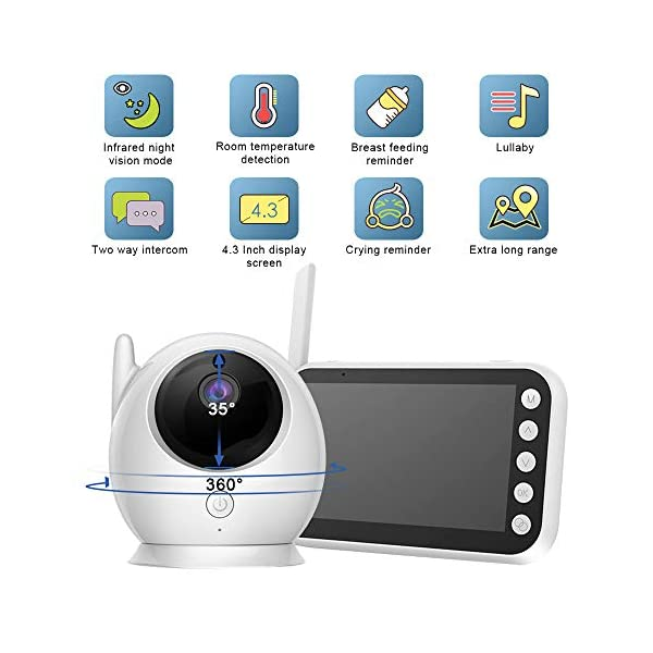 """Baby Monitor with Camera Video 4.3 Inch LCD Digital Screen 2.4Ghz Wireless Video Monitor for Night Vision Temperature Sensor 2-Way Talk Long Range 8 Lullabies Sound Activation Audio Baby Monitor  【4.3"""" LCD SCREEN Monitor】LCD display provides high definition view of your baby,with infrared night vision.Baby monitor offers the most vivid visual experience. 【Energy-Saving VOX Mode】Open the VOX function,the display screen automatically turns on when there's a voice in baby's room, and turn off when it gets silent for about 1 minute.You could focus on your things till the sound active the display.Use this mode the battery could last about 20 Hours. 【2.4GHz Wireless Connection Technology】No need to connect WIFI,needless of 3G/4G mobile data traffic,the 2.4GHz wireless technology provides 100% digital privacy and security,with range up to 1000ft in open space.Night vision is also supported. 2"""