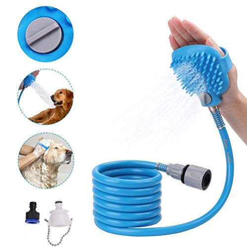 Pet Bathing Sprayer, Poconic Dog Fast Bathing Tool Multi-Functional Grooming Shower Hose Sprayer and Scrubber 2 in 1, Cat Grooming Bath Massager Adjustable Adaptor Handheld Cleaning Brush Indoor and Outdoor Use