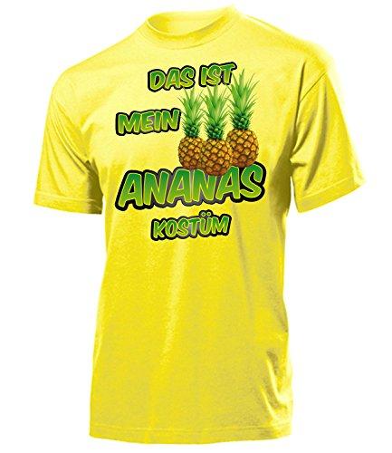 Kostüm Ananas Für Erwachsene - Ananas Kostüm Herren T-Shirt Motto Party Männer Obste 5868 Karneval Fasching Faschings Karnevals Paar Gruppen Outfit Klamotten Oberteil Gelb XL