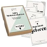 Baby-Meilensteinkarten, 31 geschlechtsneutrale Motive für Mädchen und Jungen in Erinnerungsbox aus Kraftpapier - Sue & Balou