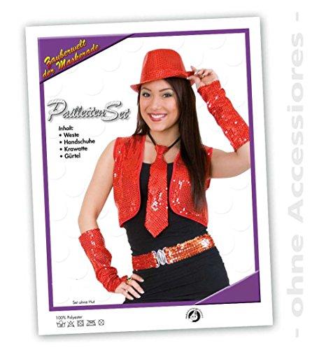Pailletten-Set, rot, Weste, Handschuhe, Krawatte, Gürtel, Pailletten, sortierte Größen (Mit Gürtel Tanz Pailletten Kostüme)