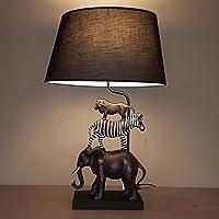 Tischleuchte Afrika   Tischlampe Mit Tiermotiven Und Schwarzem Lampenschirm    Ca. 70 Cm Hoch