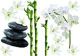 Décoration adhésive 157170 Bambous/Orchidées et Galets, Polyvinyle, Multicolore, 21 x 0,1 x 29,6 cm...